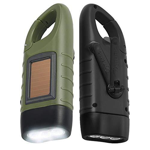 Simpeak [ 2-Pack] Hand Crank Solar Powered Flashlight, Emergency Rechargeable LED Flashlight, Survival Flashlight, Quick Snap Carbiner Dynamo Flashlight Torch for Outdoor Sports,Green+Black