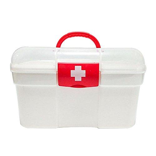 Dosige Medizin Box Plastik Erste-Hilfe-Schachtel mit Griff Medizinbox Arzneimittelbox Medikamentenkoffer für Haus Familie