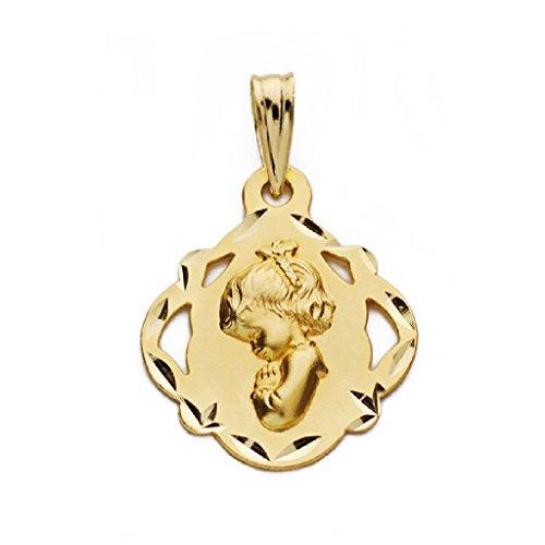 Medalla Bebé/Niña Oro 18 ktes MacizaTamaño 16 mm Virgen Niña