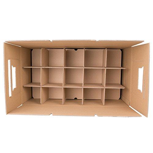 600 Gläserkartons mit 15 Fächern Flaschenkartons für Umzug Verpackung Umzugskartons - 3
