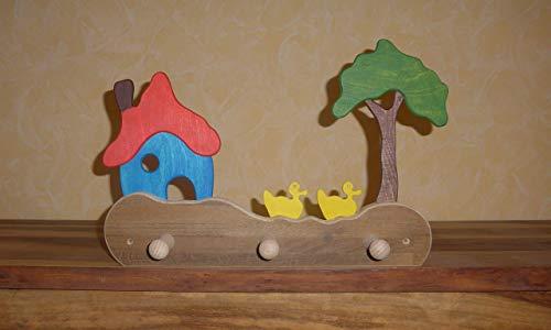 bunte Kindergarderobe Haus, Enten und Baum