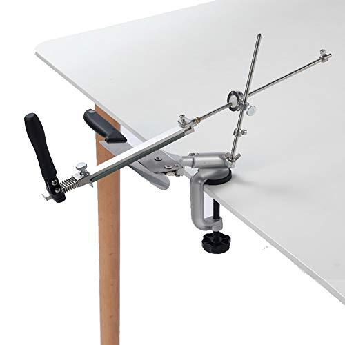 JLCN Sistema De Kits Ángulo Fijo Profesional Afilador De Cuchillos De 360 Grados Tirón Constante De Aluminio Angular De Aleación De Sharpenering con 4 Piedras De Afilar