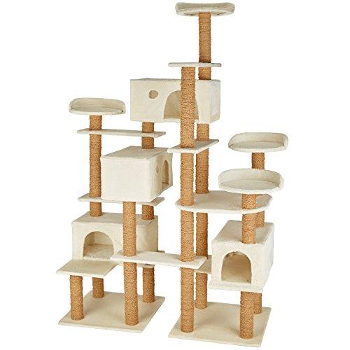 TecTake 800551 XXL Katzen Kratzbaum | Stämme komplett mit Kokosseil umwickelt | 214cm hoch - Diverse Farben (Beige | Nr. 402805)