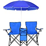 COSTWAY Portable Folding Picnic Double Chair W/Umbrella Table Cooler Beach Camping Chair, Blue