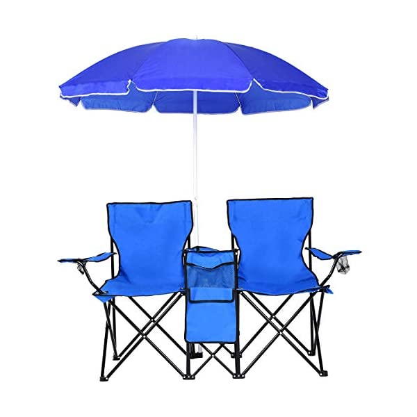COSTWAY Portable Folding Picnic Double Chair W/Umbrella Table Cooler Beach Camping...