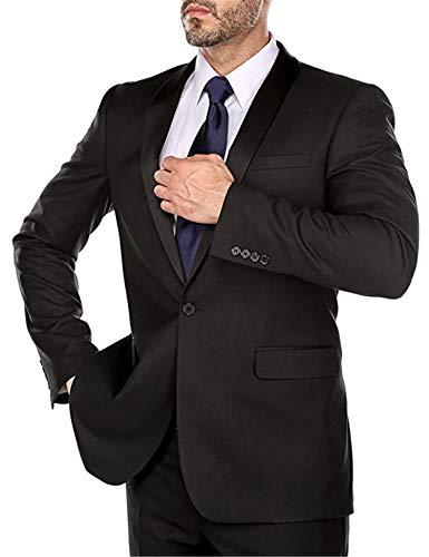 Men's Single Breasted 2 Piece Business Classic Suit Shawl Collar Tuxedo Blazer Jacket Pants Black