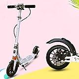 HJRD Scooter per Adulti con Doppia Sospensione, Scooter Urbano ad Altezza Regolabile |Monopattino...