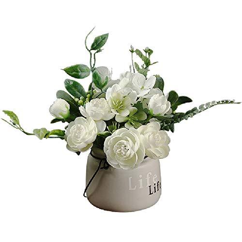 COWORK-UP Flores artificiales con florero de cerámica falsas flores de seda sintética en maceta para el hogar, oficina, boda, mesa Deco (blanco)
