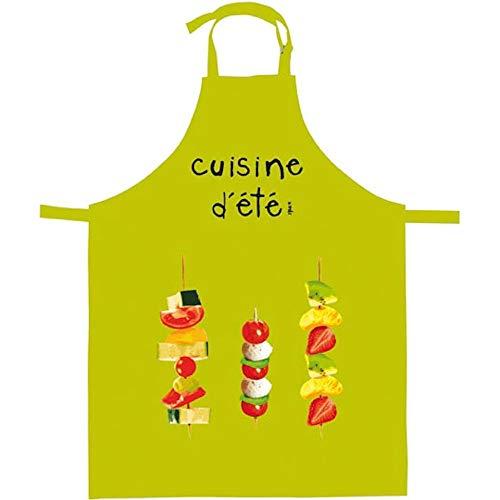 Incidence Paris 83031 Tablier de cuisine Cuisine d'été Vert anis Coton Tour de cou réglable H90 x 70 cm