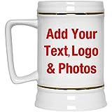 Cadeau personnalisé Ajoutez votre photo texte logo - Personalized Gift Your Photo Text - Chope De Bière Chope En Céramique Mug Pour Bar - Cadeau pour Anniversaire Fête des Mères Fête des Pères