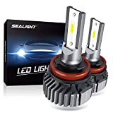SEALIGHT H11 H8 H9 LED Headlight Bulbs, Fanless 6000K White, Easy Installation, Low Beam H16 LED Fog Lights, Halogen Replacement, CSP Chips