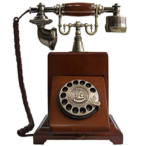 JNYTD retro telefoon Europese massief houten behuizing retro-platenspeler draaiknop vintage telefoon vaste telefoon