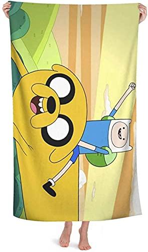 Adventure Time Finn and Jake Toalla de playa, toalla de baño, BMO Sky Star Bath Towel para yoga, viajes, camping, gimnasio, piscina (Time8, 100 x 180 cm)