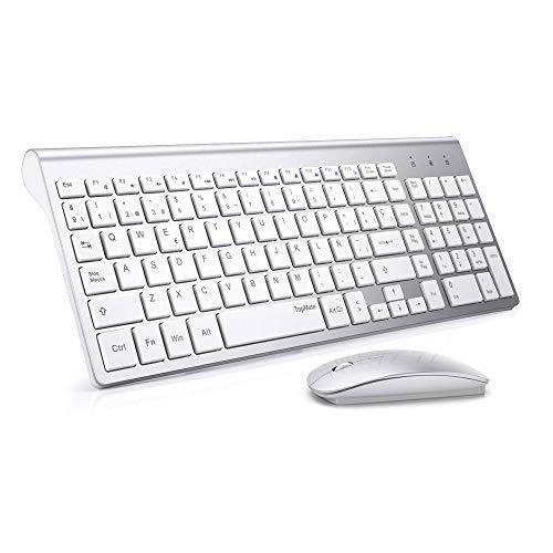 TopMate Combo de Teclado y Mouse inalámbricos 2.4GHz Teclado y Mouse inalámbricos ultrafinos y silenciosos Diseño ergonómico para PC portátil - Blanco Plateado