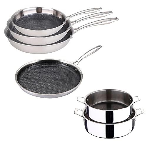 Bateria de cocina (2 Cacerolas bajas 24/28 cm, juego de sartenes 20/24/28 cm y pancake 28 cm) de acero inoxidable BERGNER Hi-Tech 3