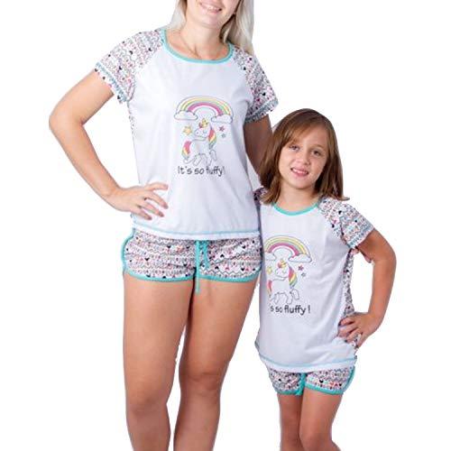 Pijama Madre e Hija Igual Impresión de Unicornio Manga Corta Top + Shorts Verano Ropa Familiar