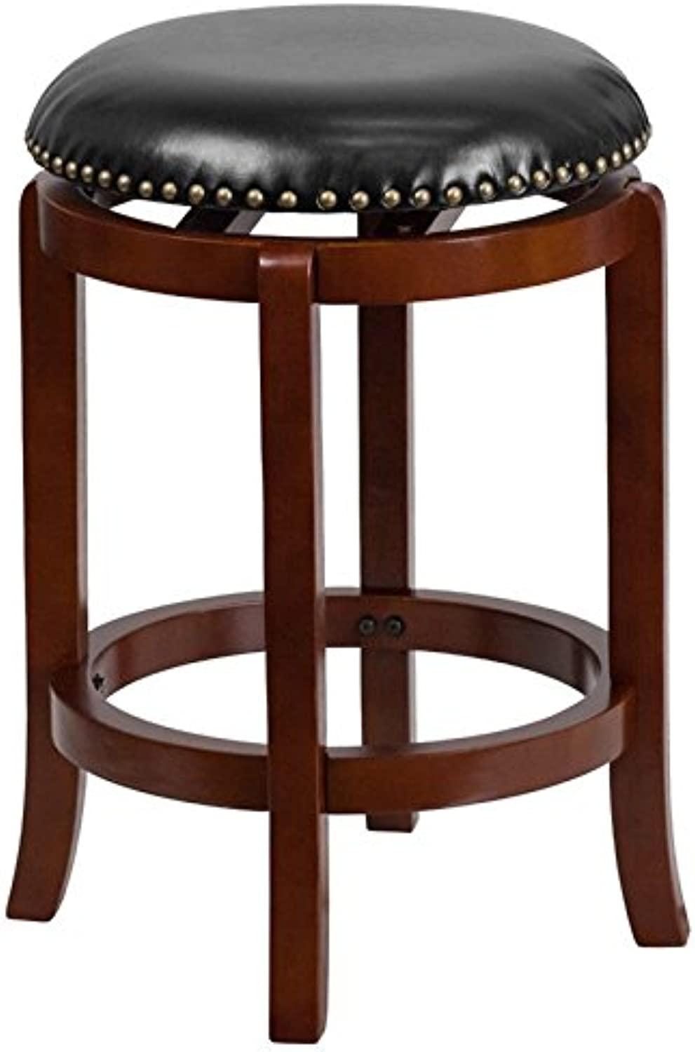 Bowery Hill 24  Leather Counter Stool in Black and Cherry