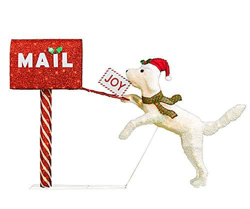 43' Winter Wonder Lane Adorable Light-Up Playful Dog & Mailbox Christmas Seasonal Holiday Decoration