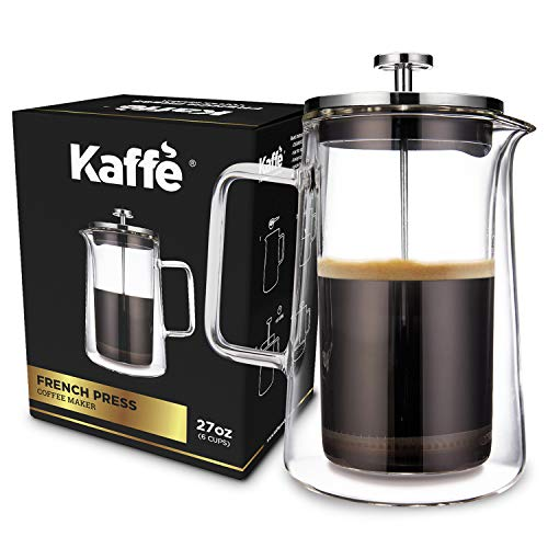 KF1010 French Press Coffee Maker by Kaffe. Double-Wall Borosilicate Glass. (27oz / 0.8L) 6-cup