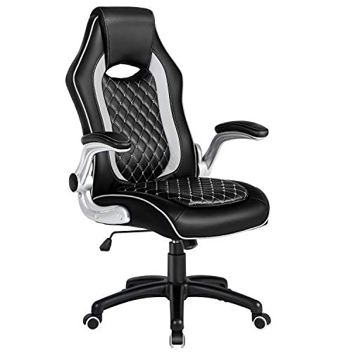 JL Comfurni Bürostuhl Gaming Stuhl Ergonomischer Schreibtischstuhl Chefsessel Drehstuhl 360°drehbar Computerstuhl mit Armlehne aus Kunstleder Schwarz fürs Büro, Arbeitszimmer