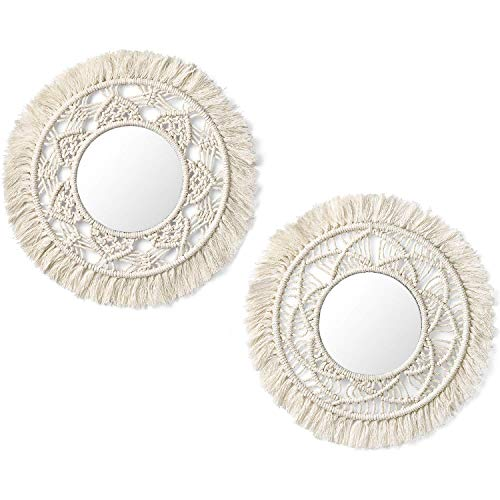 Mkouo Hanging Wall Mirror with Macrame Fringe 2 Set Small Round Decoratic Boho Antique Mirror for Apartment LivingRoom Bedroom Baby Nursery,Beautiful Gift Ideas