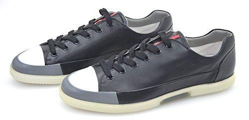 PRADA Zapatillas Deportivas para Hombre Cuero Blanco O Negro Art. 4E2486 6 (EU 40) Nero+Acciaio - Black+Steel