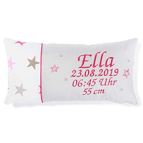Amilian Kissen 40 x 20 cm mit Namen und Datum bestickt Geschenk zur Geburt Taufe zum Namenstag personalisiert fürs Baby inkl. Bezug 100% Baumwolle Muster: Sternchen Groß Rosa Hellgrau