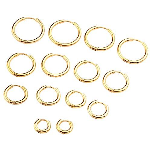 Zysta Piercingschmuck 4Paar 18G 8-20mm Herren Damen Huggie Hoop Ohrringe Creolen Piercingset aus Hypoallergen Edelstahl Ohrstecker Ohrpiercing Set Gold