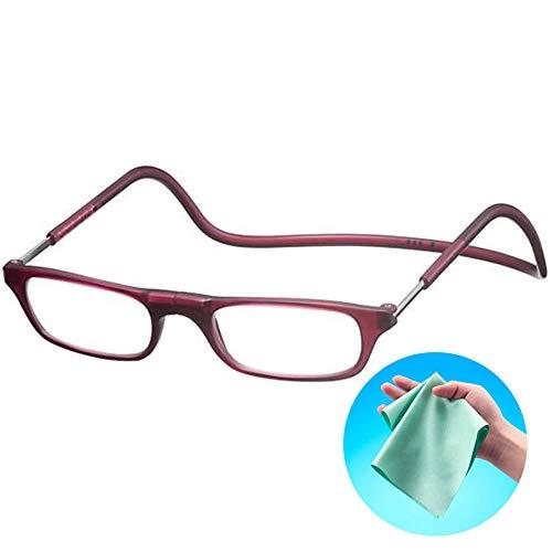 Clic Readers (クリックリーダー) リーディンググラス 老眼鏡 + 東レ トレシー クリーニングクロス セット (マットボルドー,+3.50)