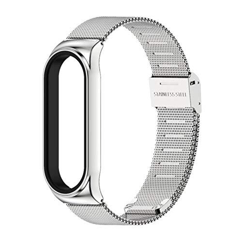 Armband für Xiaomi Mi Band 6 5 4 Armband PU Leder Armband für Mi Band 3 Armbänder Pulseira Smart Accessories-Milanese CS Silber, für Mi Band 5 6