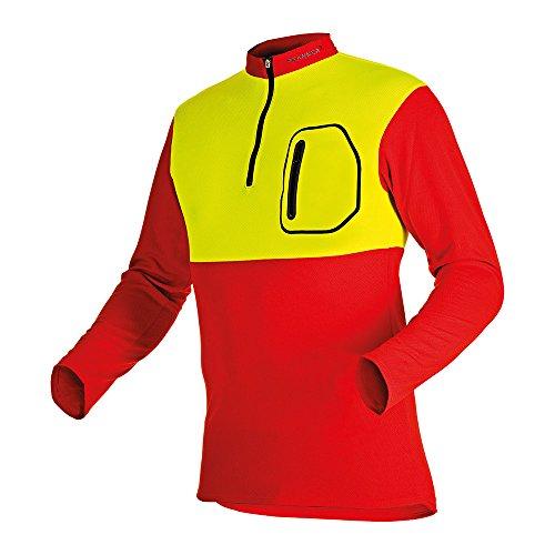 Pfanner Herren Zip-neck Shirt Short Sleeved Forst-Shirt mit Kurzarm, Mehrfarbig (rot/gelb 60), L