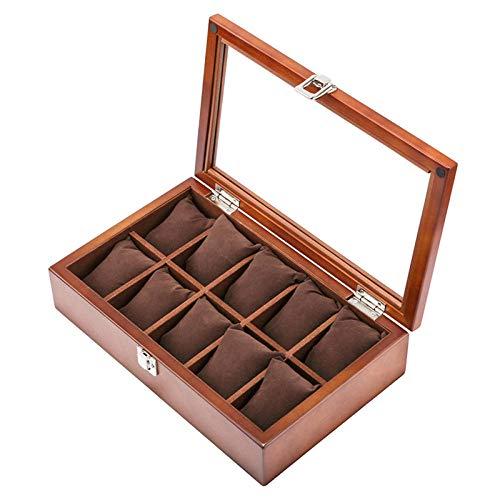 FIONAT Uhrenbox Schmuckkästchen Herren Geschenk Damen Reisen Holz 10 Dachfenster Flip Display Sammlung Aufbewahrungsbox 31,8 * 19,7 * 7,8 cm, Braun Ohne Worte