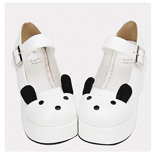 HHXXTTXS Zapatos de cuña con Plataforma de Cuero Blancos Zapatos Mary Jane Zapatos Lolita Dulce