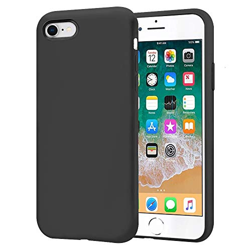 KUMEEK iPhone SE 2020 Case, iPhone 8/7 Case, Premium Silicone Gel Rubber Bumper Case Anti-Scratch Microfiber Lining Shockproof Full-Body Protective Case Cover for iPhone SE/8/7-Black