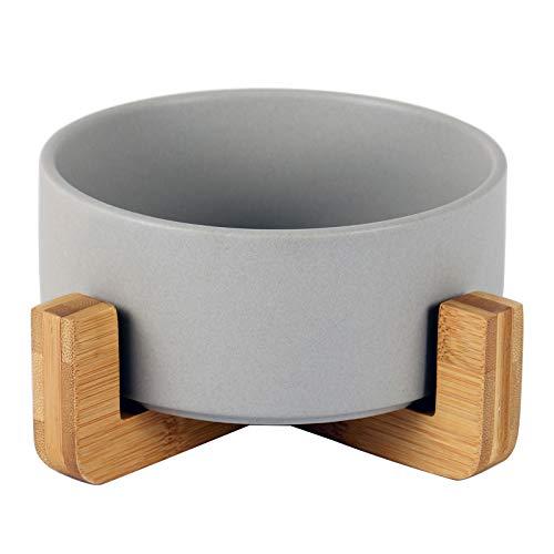 猫 犬 用 食器 餌入れ 台 脚付フードボウル陶器850ml(グレー)