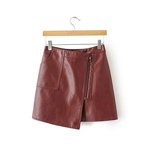 Hopereo 2020 Otoño Invierno Mujeres Moda Una Línea De Cuero De Imitación Pu Mini Faldas Imperio Femenino Negro Asimétrico Bolsillo Cintura Alta Cremallera Falda