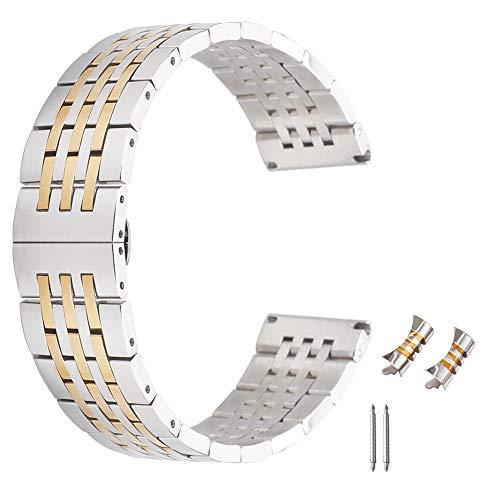 solido acciaio inox 24 millimetri inox due tonalità bracciale orologio intelligente larga metallo cinturino in argento e oro rosa