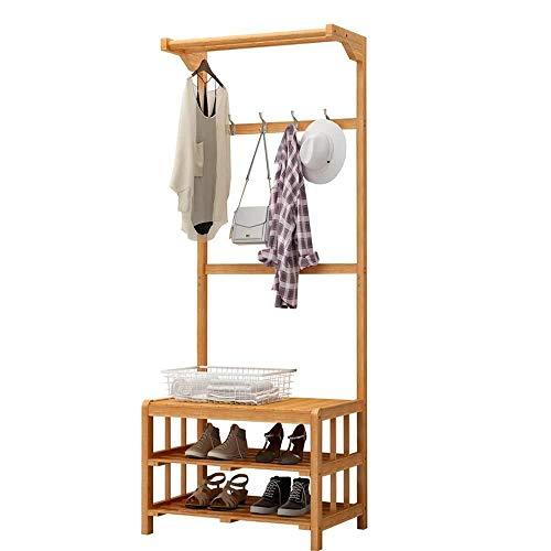 ZfgG kleding/hoed Rack Hangers Coat Rack Multifunctionele 2-tier Hanger Haken Bamboe Hout Verandering Schoenbank Hoed Handtas Schoenen Rack Hall (168cm) Hallway Meubilair