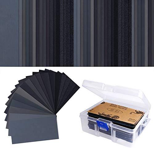 Schleifpapier sortiert feucht/trocken, 102 Stück, Körnung 60 bis 3000, 7,6 x 14 cm Bögen Schleifpapier mit Box, zum Schleifen in der Automobilindustrie und für Holz