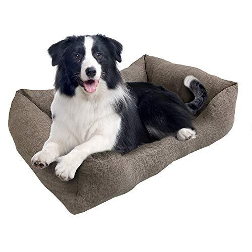 BRAVO HOME Cama para Perros, Colchón Rectangular Acolchado de Color Gris y Bordes Salientes para Perros Pequeños, Medianos y Grandes (Tallas M,L), L-60x45cm