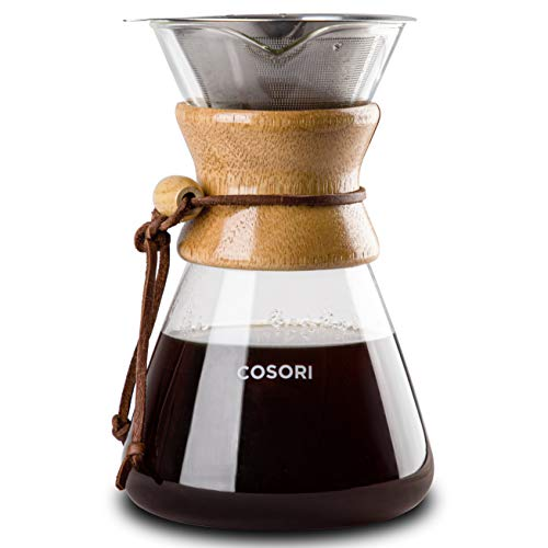 COSORI Pour Over Coffee Maker with Double-layer Stainless Steel Filter, Coffee Dripper Brewer & Glass Coffee Pot, High Heat Resistant Decanter, 34 Ounce