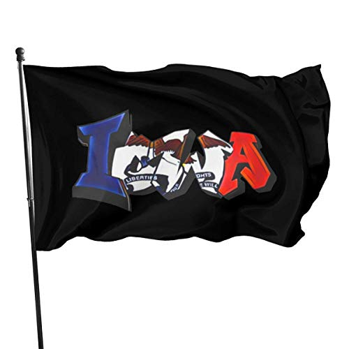 AOOEDM Bandera Decorativa Bandera de jardín 3x5 Foot Outdoor Polyester Flag, Graffiti Muscle Iowa Flag Iowa Vivid Color and UV Fade Resistant