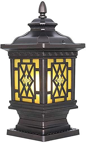 Lámpara de pared Retro Aplique, Lámpara de pared de jardín Columna Columna Luces Vintage Rústico Retro Coffee Gold Square E27 Lámpara de cristal Lámpara al aire libre IP44 Impermeable Post Lamp Sockel