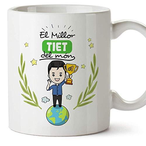 MUGFFINS Taza Tío (En Catalán)'El Millor tiet del Món' Taza Desayuno/Idea Regalo Día de la Tía. Cerámica 350 mL