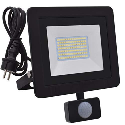 Lumare 50W LED Strahler mit Bewegungsmelder und Anschlußstecker 4000lm außen und innen IP65 ersetzt ca. 350W Mini Flutlicht Lampe 3000K warmweiß 230V