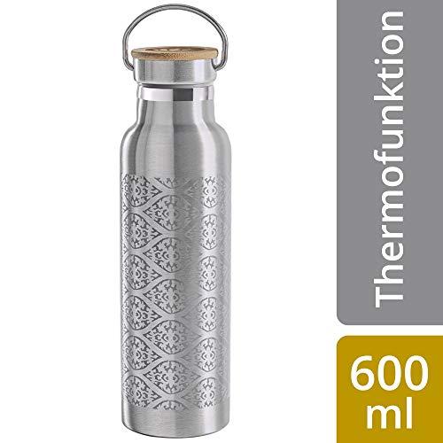 Lotuscrafts Trinkflasche Edelstahl [600 ml] Doppelwandig - 100{7561fcc30c5230af03f87a14cbb6ca2011a00faa3ae3e883134a252ba74257ca} Dicht & Auslaufsicher für Yoga, Sport und im Alltag - Nachhaltig & BPA frei - Thermosflasche für Warme & Kalte Getränke