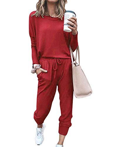 Doaraha Chándal Completo Mujer Conjunto de Deporte Camiseta Manga Larga y Pantalón Casual Conjunto Pijama para Primavera,Otoño,Invierno