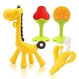 Beißring für babys, Baby Zahnen Spielzeug für Babys Kleinkinder- weiches Silikon, BPA-frei, Von der FDAnatürliche beissring (4er Pack)