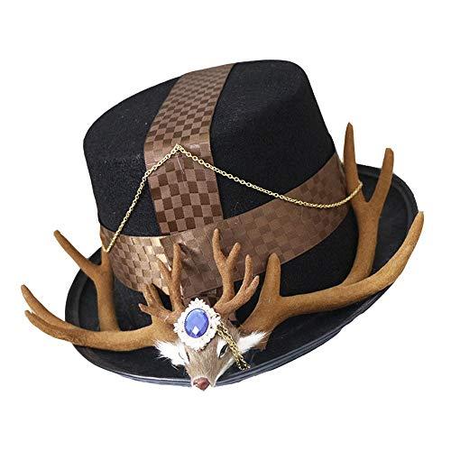 RZL Cowboyhüte Original Lolita Base Big Hat, Neuer Kleiner Hut, Frau Mini Top Hat, Lu Ming Hundert passendes Zubehör Small Things Top Hat (Farbe : Schwarz, Größe : 28-30cm)