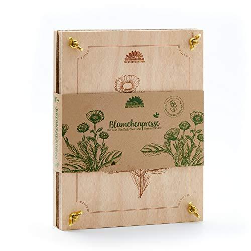 Die Stadtgärtner – Blumenpresse aus Buchenholz I Hochwertige Pflanzenpresse zum schonenden Trocknen von Blüten I Holz-Blumenpresse mit großer Pressfläche (190 x 250mm)